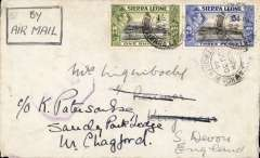 (Sierra Leone) BOAC, censored WWII airmail cover and original enclosure, Freetown to Dartmouth, Jun 30 arrival postmark on front, correctly rated 1/3d, ms 'By Air Mail', Sierra Leone violet octagonal mark with crown and censor number, remarkable fast 13 day transit for wartime. On 16/4/44 BOAC took over from RAF Transport Command for the operation of the UK-Lagos service. The enclosure, which must be read, mentions not only the 6d civilian air letter scheme, but also the new 1/3 airmail stamp for Sierra Leone. Scarce item.