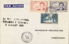 "(French Guinea) Elder's Airways experimental flight,  Conakry to Freetown, Sierra Leone, bs 2/7, imprint etiquette cover franked 3F 25c, ""1er Vol Aero-Postal/Conakry-Freetown/2 Juillet 1939""."