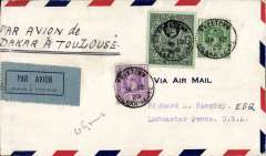 """(Sierra Leone) A rare early United States acceptance of mail from Sierra Leone via accelerated carriage  to Great Britain by the Latecoere 'Toulouse-Dakar' airmail service. Freetown to Dakar by steamer, Dakar to GB by air, then GB to USA by sea, bs Lancaster, PA Feb 7 1929, airmail cover correctly rated 1/1/1/2d, franked SL 1/-, 1d, 1/2d, ms """"Par Avion de/Dakar a Toulouse', and a rarely seen black/grey blue """"Par Avion/Dakar a Toulouse"""" etiquette (SRL-A-1a). The 550 mile sea service from Dakar to Freetown was unpredictable and the connection at Toulouse was often missed. For this reason, the accelerated service was seldom used, and this cover is therefore scarce, particularly to the USA. See Priddy's 'West African Airmails, The McCaig and Porter Collections' published by the, West Africa Study Circle in 2002 and reprinted 2017, and McCaig's article on West African Airmails, page 13, Postal History Journal, October, 1979.  The cover has a 3mm lh edge trim, otherwise fine, see scan."""