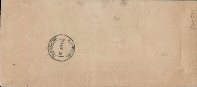 (South Africa) Stampless O.H.M.S. cover to L.A.Wyndham, House of Assembly, Cape Town with the Royal Tour datestamp and violet oval 'ROYAL TOUR  H.R.H. PRINCE GEORGE/OFFICIAL FREE/1934' bilingual cachet, backstamped at Cape Town (Mar 9), signed by the postmaster of the Royal Train and the S.A.A. pilot Pat  Murdoch. Special instructions were issued stating that all official correspondence from the Royal Train was to go by air where possible. Very scarce and unusual.