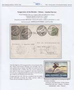 (Greece) F/F Aero Espresso Italiana Brindisi-Athens-Istanbul service, airmail cover franked 1L45 canc Brindisi cds, athens 2/8 arrival cds on front, written up and displayed on album page.also including attractive multicoloured AEI 'winged Mercury' advertising label. See scan.