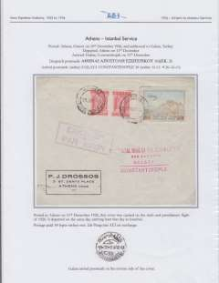 (Greece) Aero Espresso Italiana Athens-Istanbul service, Athens to Galata 11/12 (in arabic) verso, Drossos corner cover franked 60 lepta surface and 3dr Acropolis air surcharge, violet framed Athens departure hs, flown on AEI's sixth and penultimate flight of 1926, prior to the issue of the four Patagonia postage stamps.  Written up and displayed on album page.  f