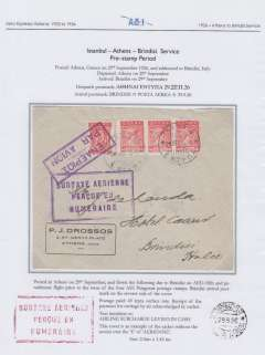"""(Greece) Aero Espresso Italiana S.A. pre-stamp period, Athens to Brindisi flight, 'Brindisi/29.9.26/Posta Aerea' arrival ds verso, Drossos cover, franked 40 lepta ordinary, no special airmail stamps, but with fine strike large rubber framed """"Surtaxe Aerienne/Percue En/Numeraire"""" in violet (used only between 4th Aug and 12th Nov, 1926), also violet boxed 'Enaipios Par Avion' hs. The surtax hand stamp, and the date of arrival back stamp, confirm that this cover was flown on AEI's fifth and penultimate flight prior to the issue of the four Patagonia postage stamps. Written up and displayed on album page."""