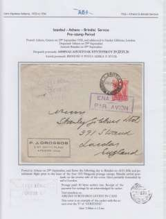 """(Greece) Aero Espresso Italiana S.A. pre-stamp period, addressed to London, carried on Athens to Brindisi flight, 'Brindisi/29.9.26/Posta Aerea' arrival ds verso, Drossos cover, franked 3 Dr tied by violet boxed 'Enaipios Par Avion' hs , violet strike large rubber framed """"Surtaxe Aerienne/Percue En/Numeraire""""  hs (used only between 4th Aug and 12th Nov, 1926),  The surtax hand stamp, and the date of arrival back stamp, confirm that this cover was flown on AEI's fifth and penultimate flight prior to the issue of the four Patagonia postage stamps. Written up and displayed on album page."""