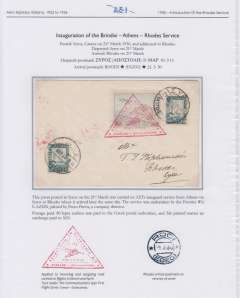 (Greece) Aero Espresso Italiana S.A., inauguration Brindisi-Athens-Rhodes service, F/F Syros to Rhodes, bs 21/3, cover franked 1926  3D air and 80L ordinary, triangular red framed Athens departure hs. Elegantly presented on album leaf. Image.
