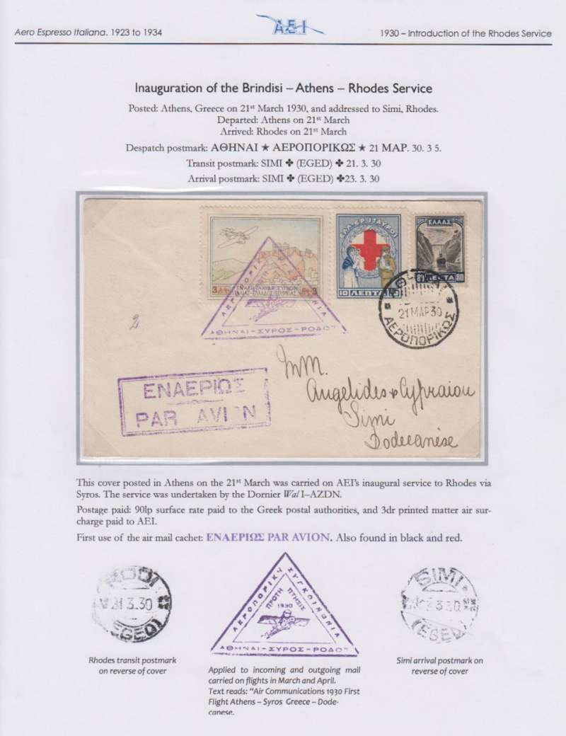 (Greece) Aero Espresso Italiana S.A., inauguration Brindisi-Athens-Rhodes service, F/F Athens to Simi, bs 23/3 via Rhodes 21/3, cover franked 1926  3D air and 90L ordinary, first use of purple triangular 'Athens-Syros-Dodecanese' flight cachet.. Elegantly presented on album leaf. Image.