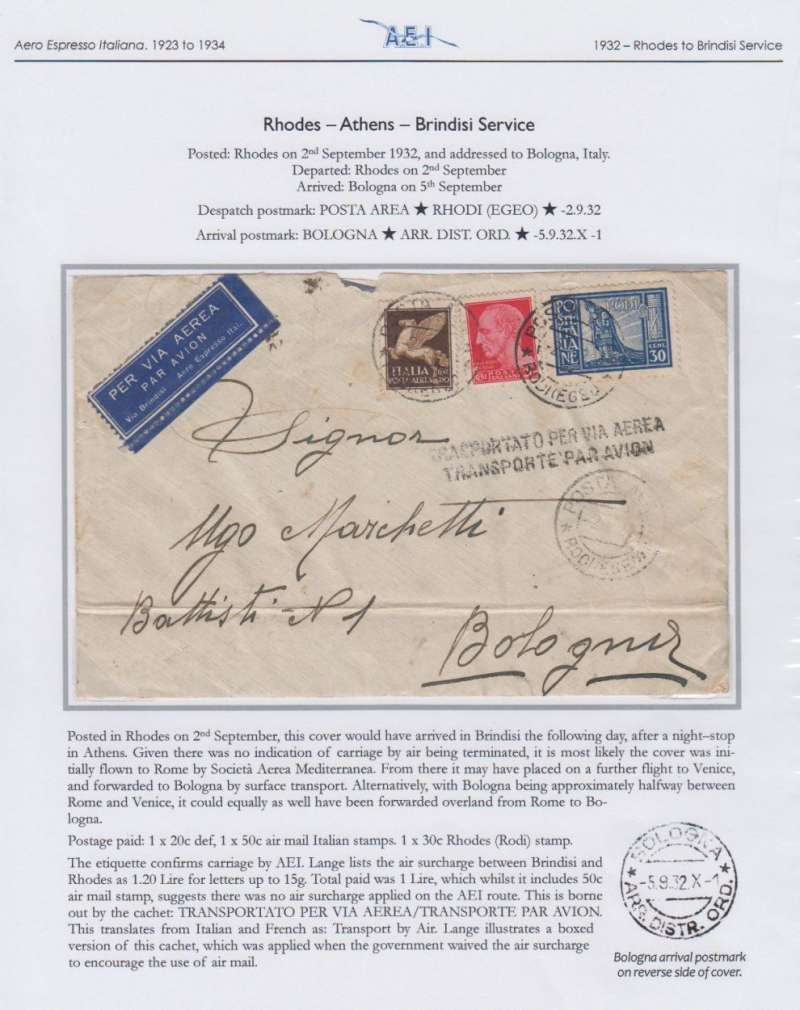 (Greece) Rhodes to Bologna, 5/9, plain cover dual franked with Italian 20c ordinary and 50c air stamps and 30c Rhodes stamp, both canc Rhodes cds's, dark blue/white 'Per via Aerea/Via Brindisi/Aero Espresso Ital.' etiquette, and black two line 'Transportato per Via Aerea/Transporte Par Avion' hs (applied when government waived the air surcharge to encurage the use of air mail. Small non invasive top edge nibble, some flap damage verso, and ironed horizontal crease 2cm from lower edge. A most interesting cover elegantly presented on album leaf. Image.