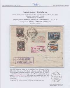 (Greece) Athens to Fort Worth, Texas, via Patras 15/2 where it completed the Aero Espresso Italiana air stage of its journey, signified by a superb red framed Jusqu'a 'Par Avion/JUSQU'A (ms) Patras', a major Greek port from which the cover would have been put on a vessel destined for the US. An interesting cover elegantly presented on album leaf. Image. Image.