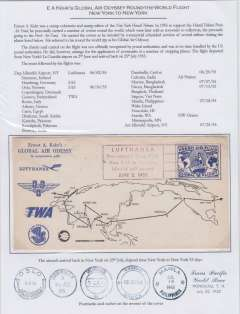 (United States) Kehr's Global Air Odyssey Round the World Flight, New York to New York, 25 stop off's, blue/white souvenir air cover with imprint vignette cancelled franked 'Fresh Air Fund' transit confirmation back stamps verso, Uncommon cover attractively written up and displayed on album leaf