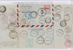 (United States) Atlas Sky Merchant Round the World Flight, visited 42 cities, air letter sheet with 31 arrival postmarks and includes documented and illustrated text nicely displayed on an album sheet. See scan.