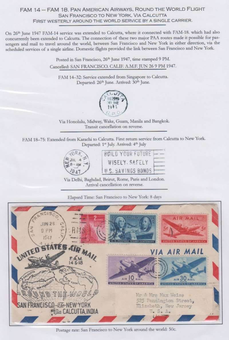 (United States) First Westerly Round the World Service By a Single Carrier, FAM 18/FAM 14 San Francisco to New York 4/7, via Calcutta 30/6, also detailed account attractively displayed on album leaf, see scan.