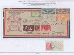 (United States)   A fascinating triple/quadruple short paid first flight cover being a first acceptance of US mail for England (FAM 18), for Bangkok and Hong Kong (FAM 18 and Imperial Airways) for carriage on the inaugural Pan Am North Atlantic route. It was then intended for OAT on what would be the first FAM 18 Pan American & Imperial Airways Round the World Flight  New York-England-Bangkok-Hong Kong-Honolulu-San Francisco-New York. But the postage paid at Hong Kong was insufficient for transport by, so it completed its journey by sea.. Airmail cover, 22x11cm, postmarked New York 24/6/39, London 29/6, Victoria HK 8/7, and New York 8/8, FAM 18 F/F cachet, black 'T' in circle and red 'Postage Due (ms 4) Cents', Displayed on three album pages including the original USPO document dated 7 August (see web site scan) and a detailed explanation of route, dates, and postage costs. An exceptional exhibit item.