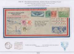(United States) First Pan American & Imperial Airways Round the World Flight  New York-New York via France, Thailand, Hong Kong and Hawaii. A quadruple first flight cover being a first acceptance for the carriage of US mail for Marseilles (FAM 18), Bangkok and Hong Kong (FAM 18 and Imperial Airways) via the inaugural Pan Am Southern Atlantic route, then FAM 14 to San Francisco and United Airlines to New York on the final legs of this first PAA/IAW round the world flight.  Airmail cover, 22x11cm, postmarked New York 20/5, Marseilles 22/5 and New York 13/6 and official US/Pam flight cachet.. Displayed on three album pages including press cuttings, a compliments slip signed by William van Dusen, and a detailed explanation of route, dates, and postage costs. An superb exhibit item.