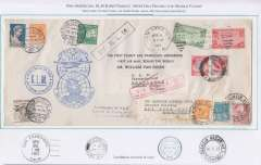 (United States) Van Dusen round the world cover commemorating the first complete aerial circuit around the globe, the final link being completed following inauguration of th first airmail service from US to China. The cover 27x12cm, franked US C21&C22, canc New York 19/4, posted New York, was carried United Airlines to San Francisco, 21/4, then China Clipper F/F FAM 14 to Hong Kong, bs 28/4, Imperial AW to Penang, where Malaya stamps affixed, canc 6/5, KLM to Amsterdam, bs 10/5, where Dutch stamps affixed, canc 15/5, Air France to Rio de Janero, bs 18/5, where Brazilian stamps affixed, canc 20/5, for the final leg by Panair/Pan Am to New York. There is no New York b/s but PAA officially attests to their arrival in NY(see below). Also bears official FAM14 F/F cachet, red boxed 'Via Panair' hs, KLM 'receiving and forwarding at Penang',  'airport' and 'By KLM' hs's. The original plan was for KLM to continue to Frankfurt for OAT to Lakehurst on the Hindenburg, but the crash prompted a last minute transfer to Air France.
