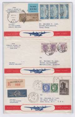 (United States) First Pan Am and Imperial AW, Westerly 'All the Way by Air' around the world dispatch, New York to New York, via  San Francisco, Hong Kong, bs Kowloon 28/6, Bangkok, Alexandria and Marseilles bs 5/7, registered (label) souvenir cover franked US 85c air canc 20/6, Hong Kong $1.20 canc 29/6 cds, and France 14F50 canc Marseilles canc 7/7 cds. Superb item in pristine condition. Displayed on album page with a detailed explanation of route,