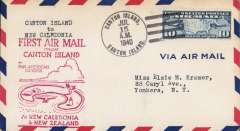 (Canton) Pan Am pioneer Trans-Pacific service FAM 19 F/F Canton Island to Noumea, bs 16/7, official red flight cachet.