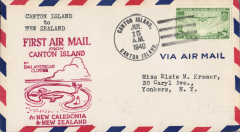 (Canton) Pan Am pioneer Trans-Pacific service FAM 19 F/F Canton Island to Auckland, bs 18/7, official red flight cachet.