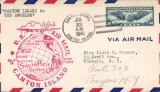 (Canton) Pan Am pioneer Trans-Pacific service FAM 19 F/F Canton Island to Los Angeles, bs 16/7, official red flight cachet.