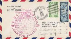 (Canton) Pan Am pioneer Trans-Pacific service FAM 19 F/F Canton Island to San Francisco, bs 2216/7, official red flight cachet.