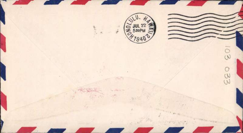 (Canton) Pan Am pioneer Trans-Pacific service FAM 19 F/F Canton Island to Honolulu, bs 122/7, official red flight cachet.