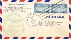 (Guam) Pan Am pioneer Trans-Pacific service FAM 14 F/F Guam to San Francisco, bs 6/12, official green flight cachet.
