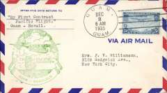 (Guam) Pan Am pioneer Trans-Pacific service FAM 14 F/F Guam to Honolulu, bs 4/12, official green flight cachet.