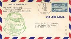 (Guam) Pan Am pioneer Trans-Pacific service FAM 14 F/F Guam to Manila, bs 29/11, official green flight cachet.