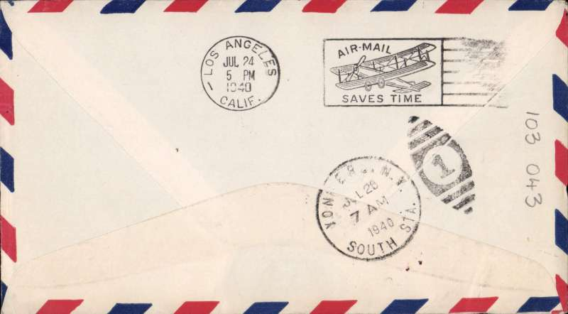 (Hawaii) Pan Am pioneer Trans-Pacific service FAM 19 F/F Honolulu to Los Angeles, bs 24/7, official violet flight cachet.