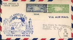 (United States) Pan Am pioneer Trans-Pacific service FAM 19 F/F Los Angeles to Canton Is, bs 14/7, official blue flight cachet.