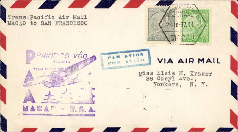 "(Chinese Macau) Trans Pacific F/F FAM 14, Macau to San Francisco, violet Macao-USA flight cachet, ""par avion"" hs, Pan Am."