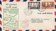 (New Caledonia) F/F FAM 19  Noumea to Canton Island, green cachet, cachet ds, b/s, Pan Am