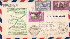 (New Caledonia) F/F FAM 19,  Noumea to Los Angeles, green cachet, cachet ds, b/s, Pan Am