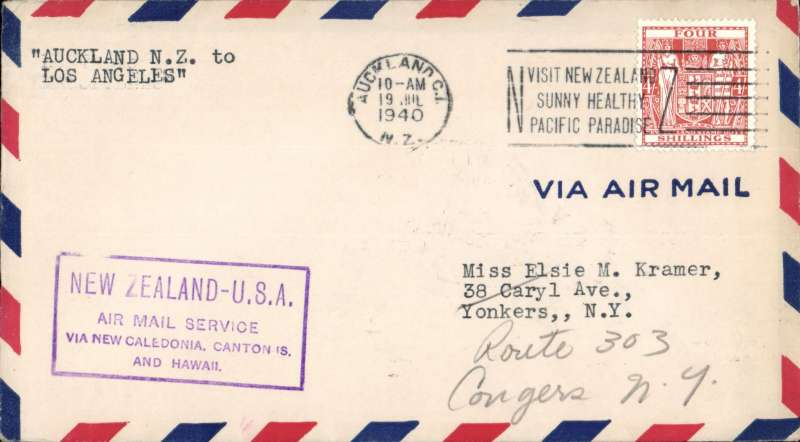 (New Zealand) F/F, Auckland to Los Angeles, 24/7, violet boxed cachet, b/s, Pan Am