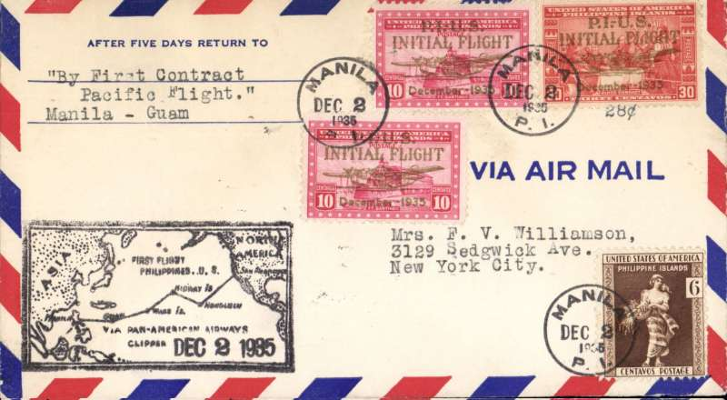 "(Philippines) F/F FAM 14  ""China Clipper"", Manila to Guam, cachet, bs 2/12, airmail cover, Pan Am"