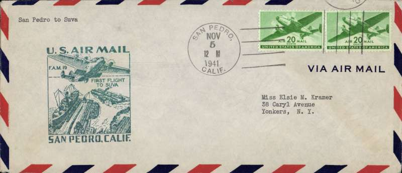 (United States) F/F FAM 19  San Pedro to Suva,  bs 9/11, cover 10x23cm franked 40c air, cachet, Pan Am