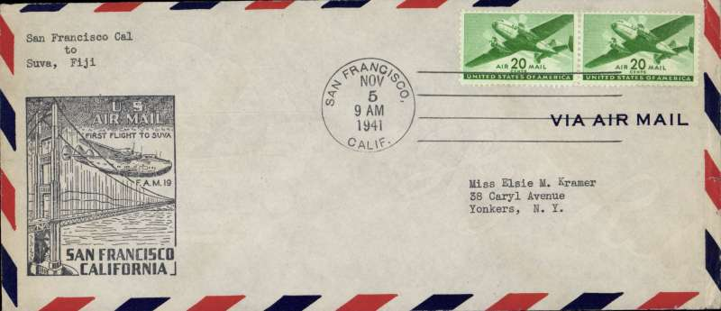 (United States) F/F FAM 19  San Francisco to Suva,  bs 9/11, cover 10x23cm franked 40c air, cachet, Pan Am
