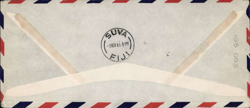 (United States) F/F FAM 19  Los Angeles to Suva,  bs 9/11, cover 10x23cm franked 40c air, cachet, Pan Am