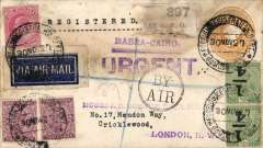 """(India) Basra-Cairo airpost, Bombay to London, 2anna 6p registered (label)  PS envelope with additional 5 1/2 anna inc inverted 1/4 anna opt x2 (not listed by Stanley Gibbons) canc Bombay Registration cds, violet """"Basra-Cairo"""" and """"Urgent"""" hs's, black double circle """"By Air"""" hs, tied dark blue/white etiquette, some gum suffusion top front and verso, see scan."""