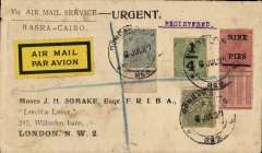 (India) Basra-Cairo airpost, Bombay to London via Basra 15/7, registered (label) printed 'Via Air Mail Service/Basra-Cairo' corner cover franked 7 1/4 annas and 9p, canc Bombay cds, yellow/black airmail etiquette.