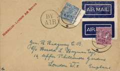 (India) First combined Basra-Cairo and Marseilles-London airmail service, Bombay to London, buff envelope with 'Marseilles-London Air Service' printed in red in top lh corner, franked 5 annas canc Bombay cds, black double ring 'By Air' hs, pair tied dark blue/white airmail etiquettes. Scarce item in very fine condition.