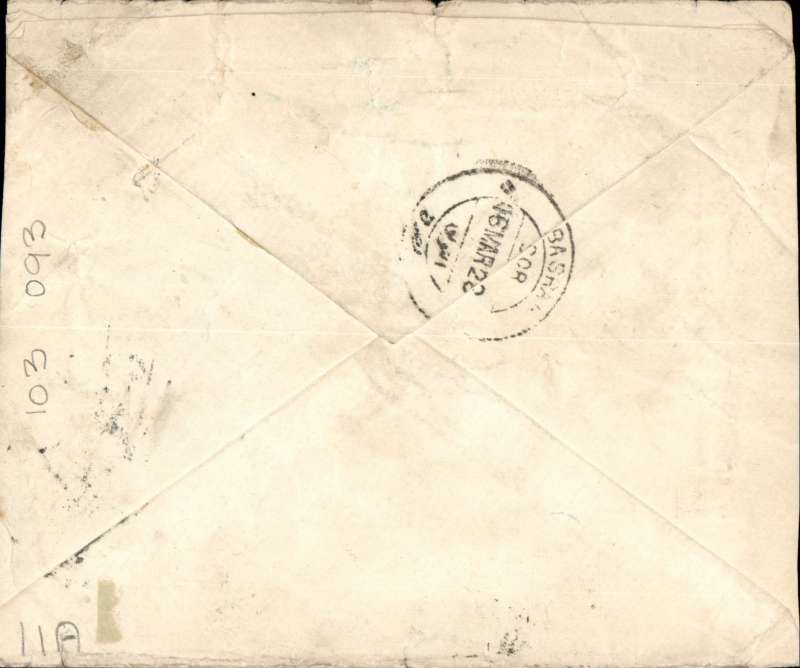 (India) Underpaid Basra-Cairo airpost, Multan City to London, 23/3 , Basra  16/3 transit cds verso, commercial corner cover, franked India 4 annas and GB 1 1/2d postage dues  canc GB 'T' /1 1/2d F.B/London E*' cds.' also first issue of Indian Air Mail label inscribed 'Air Mail' in white on blue background,  black double ring 'By Air' hs. Nice item.