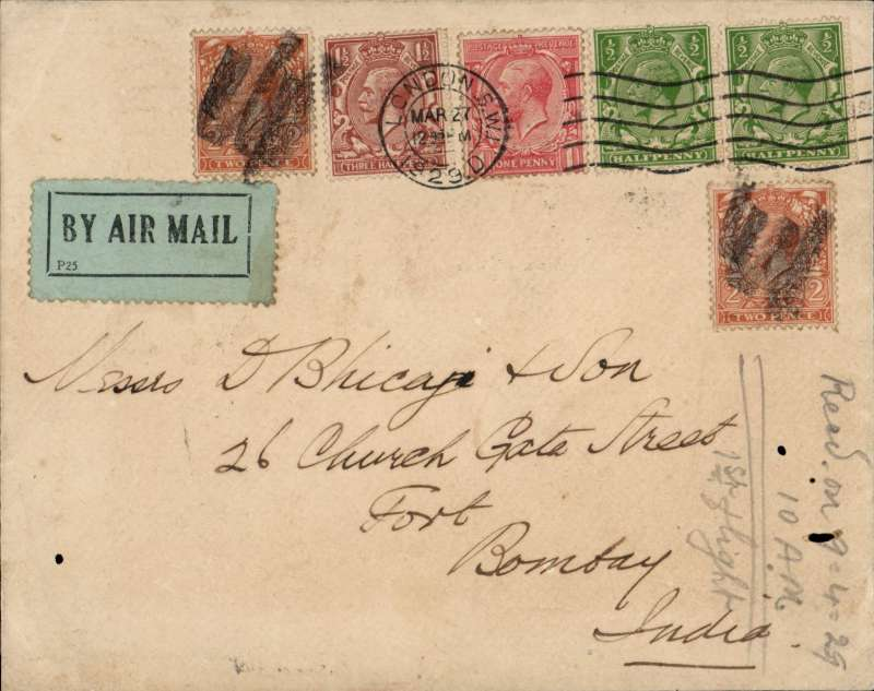(GB External) Imperial Airways first flight London to India, bs Bombay GPO 9/4, airmail etiquette cover franked 7 1/2d The route taken is of interest showing the lack of cooperation by the Italian authorities who declined to allow flights over their territories by way of France or Switzerland. An airliner carried the mail to Basle, from there it was taken by train overnight to Genoa,  then by flying boat to plane to Alexandria via Rome, Naples, Corfu, Athens, Crete and Tobruk. and from there it was flown on the city of Jerusalem to Karachi.