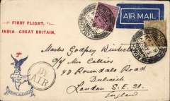 """(India) F/F Karachi to London, uncommon red/white/blue souvenir cover with printed """"1st Flight /India-Great Britain"""" in red and """"Indian Airways eagle and logo"""" printed in blue,  franked 8a canc Karachi cds tying 1929 etiquette rated scarce by Mair, black dr """"By Air"""" hs, 'Stephen Smith' printed in blue verso."""
