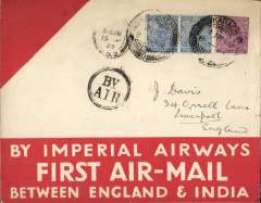 """(India) Imperial Airways, Karachi to London, 15/4 arrival ds on front, flown on first return service Karachi to London, red/buff souvenir """"1st Flight/India-Great Britain"""" cover, franked 8a, black dr """"By Air"""" hs."""