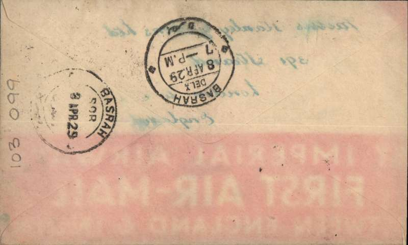 """(India) First return sevice from India, Karachi to Basrah, bs 8/4, circular """"By Air"""" cachet, Imperial Airways. Newall 29.05Aa, 100units. Faint red imprint from F/F England-India souvenir cover verso."""