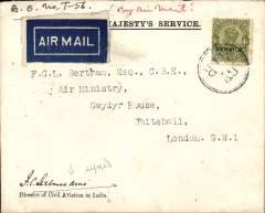 (India) Scarce signature, carried on third IAW flight from India to London, official OHMS envelope with embossed logo verso, from the office of the Director of Civil Aviation in India, franked 4 annas 'Service' opt on front uncancelled but tied by black double ring 'By Air' hs, also and 1anna 'Service' opt x4 verso, signed on front by Lt Col Shelmerdine who was the first Director General of Civil Aviation in India.