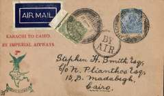 """(India) F/F Karachi to Cairo, bs Alexandria 24/4, third flight IW3, uncommon red/buff/green souvenir cover with printed """"Karachi to Cairo/By Imperial Airways"""" in red and """"Indian Airways eagle and logo"""" printed in green,  franked 7a canc Karachi cds tying 1929 etiquette rated scarce by Mair, black dr """"By Air"""" hs, signed by 'Stephen Smith' verso (not facsimile)."""