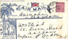 (Interruptions and Accidents) Karachi to Croydon, flight IW9, interrupted twice by sandstorms between Bushire and Baghdad. Attractive World Fliers Half-Way House cover franked 8 annas. Flown by City of Tehran from Karachi 2/6, arriving Bushire one day late 4/6, made two onward attempts for Basra, first on an unknown 'relief plane' but had to return,and on the second attempt flew into a sandstorm and landed at Amarah short of fuel. The Indian mail eventually arrived at Baghdad 14 hours late on 4/6, see Wingent p18.