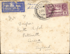 (India) Karachi to Croydon, flight IW38, Karachi to Croydon, franked 8 annas canc (Karachi) 'AERODROME' cds. This is the second earliest recorded. The PO at the aerodrome did not have full status, but was a branch office opened to coincide with the scheduled flights. The cover is grubby and has some rough opening verso. Scarce nevertheless.