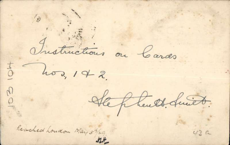 """(India) Imperial AW 4th flight Karachi to London, ms arrival 5/5 confirmation, uncommon red/white/blue PC with printed """"(ms 4th) flight/ India to Great Britain/By Imperial Airways"""" and """"Indian Airways eagle and logo"""" printed in dark blue, franked 7 1/2 anna canc Karachi cds, black dr """"By Air"""" hs, signed by 'Stephen Smith' verso (not facsimile)."""